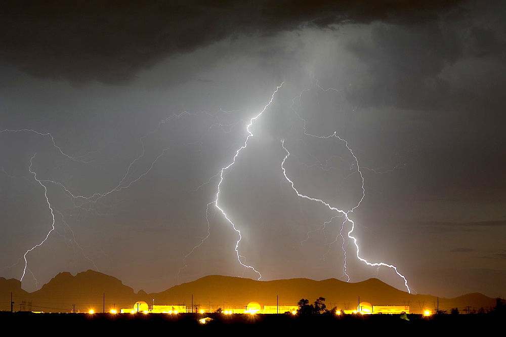 Nuclear Lightning. A lightning storm striking near a nuclear power plant in Wintersburg Arizona during the 2015 Monsoon Season.