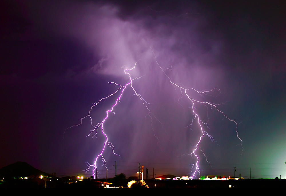 A late night lightning storm in Arlington during the 2012 Monsoon season, Arizona, United States of America, North America