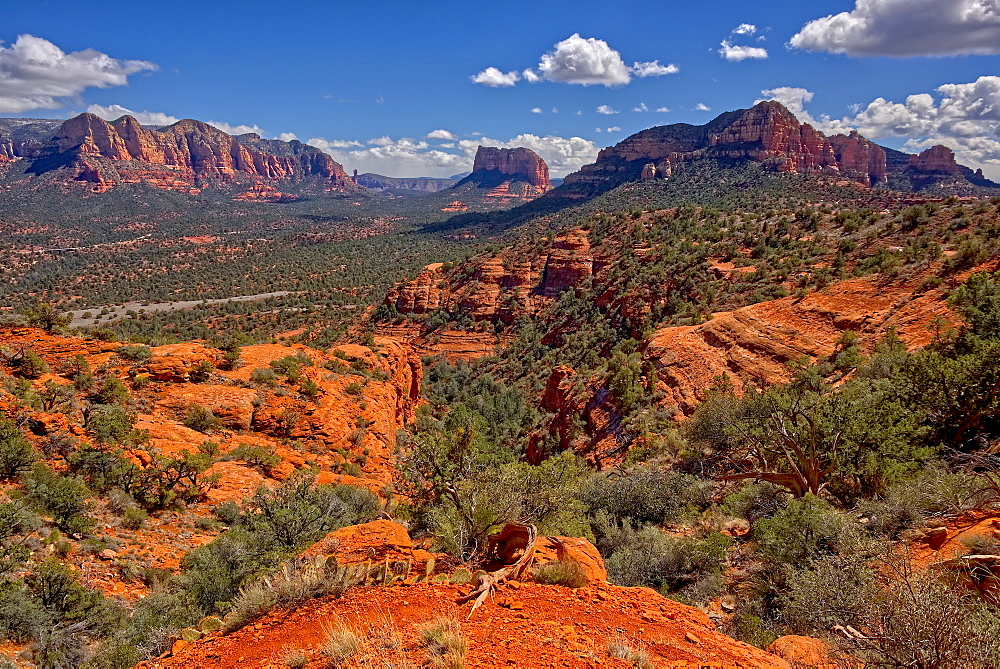 View of Lee Mountain, Courthouse Butte, and Castle Rock, from the secret trail on the east side of Cathedral Rock in Sedona, Arizona, United States of America, North America