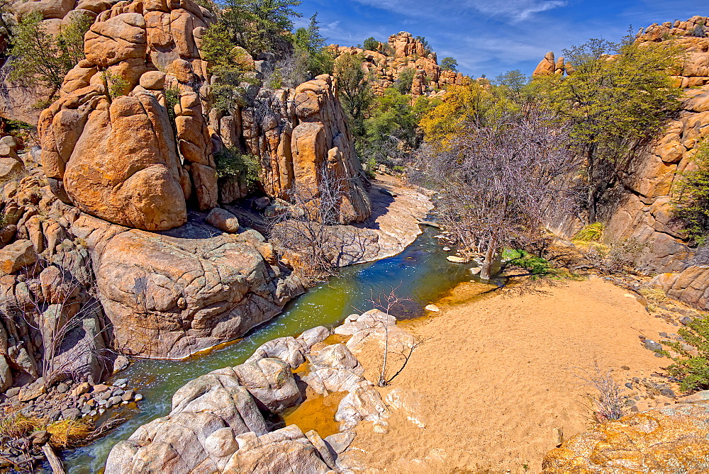 High angle view of Boulder Creek, the Watson Lake Loop Trail crosses this creek, Prescott, Arizona, United States of America, North America
