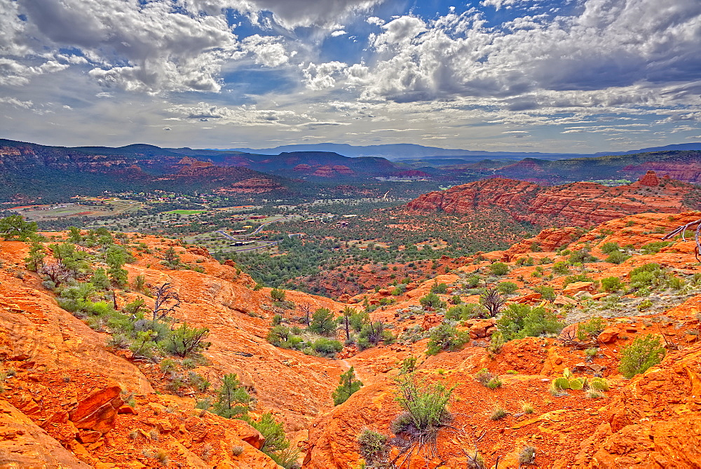 A view of western Sedona from a cliff on the south side of Cathedral Rock, Sedona, Arizona, United States of America, North America