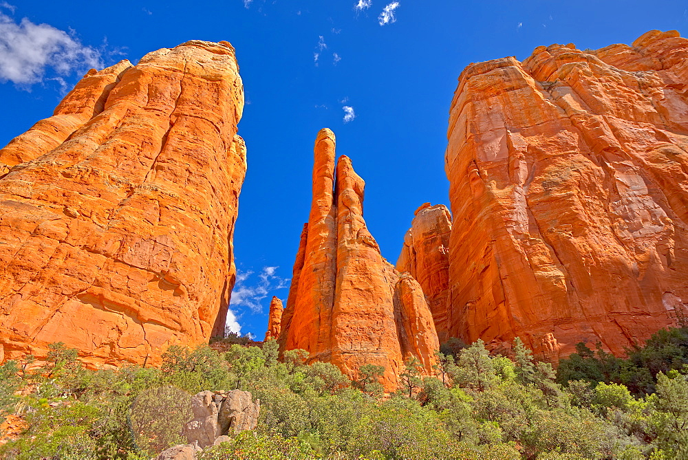 The Central Spires of Cathedral Rock viewed from the west side of the formation, Sedona, Arizona, United States of America, North America