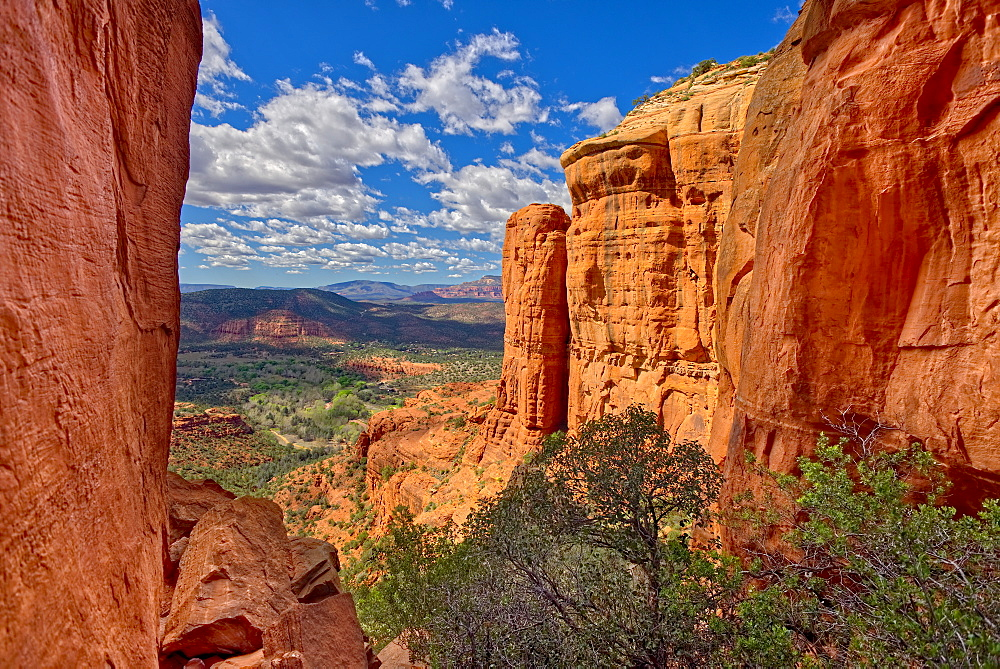 Northwest view of Sedona from within the saddle on Cathedral Rock, Sedona, Arizona, United States of America, North America