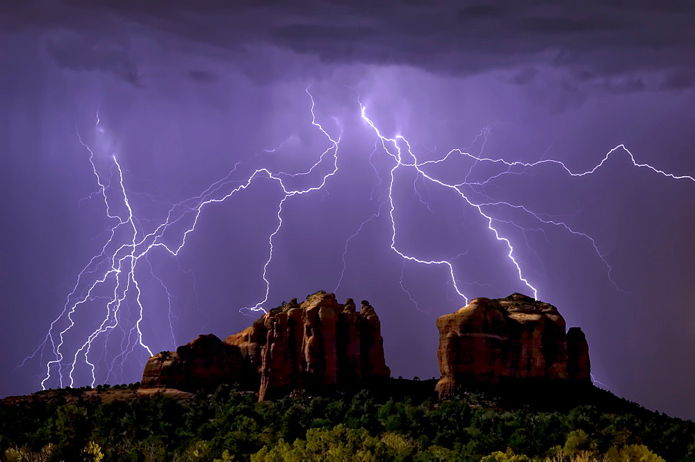 Lightning storm striking Cathedral Rock in Sedona viewed from the Little Horse Trail, Sedona, Arizona, United States of America, North America