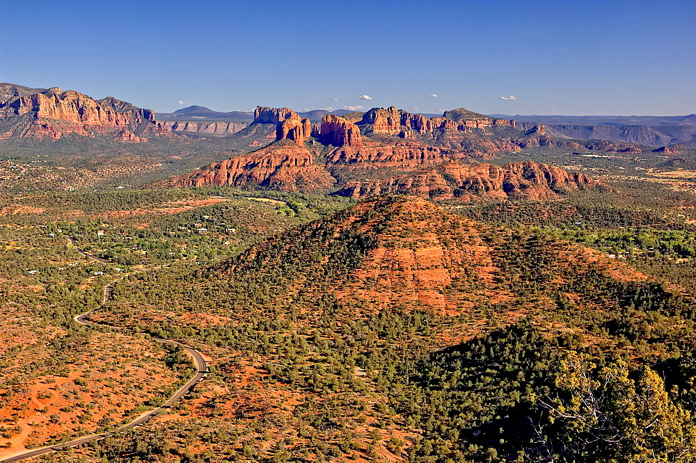 View of Sedona and Cathedral Rock from the summit of Scheurman Mountain, Sedona, Arizona, United States of America, North America