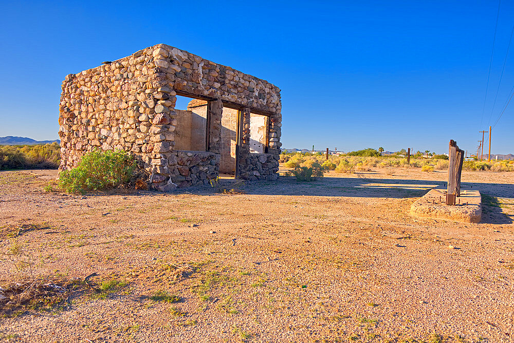A ghostly stone building that is one of the last original structures of Old Salome AZ. It is regarded as historical landmark. - 1311-88