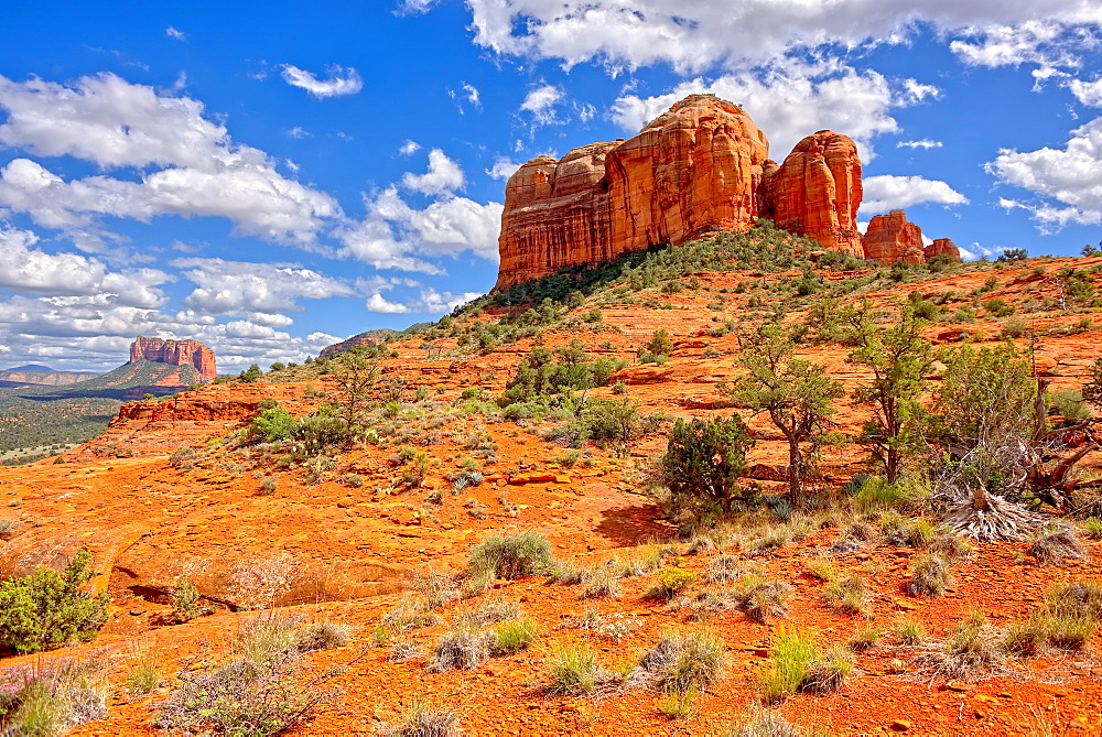 View of Cathedral Rock and Courthouse Butte in Sedona from the northwest slope of Cathedral Rock, Arizona, United States of America, North America - 1311-92