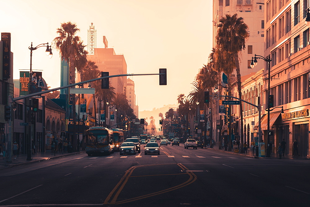 Evening commuters in Los Angeles during a lovely sunset, Los Angeles, California, United States of America, North America