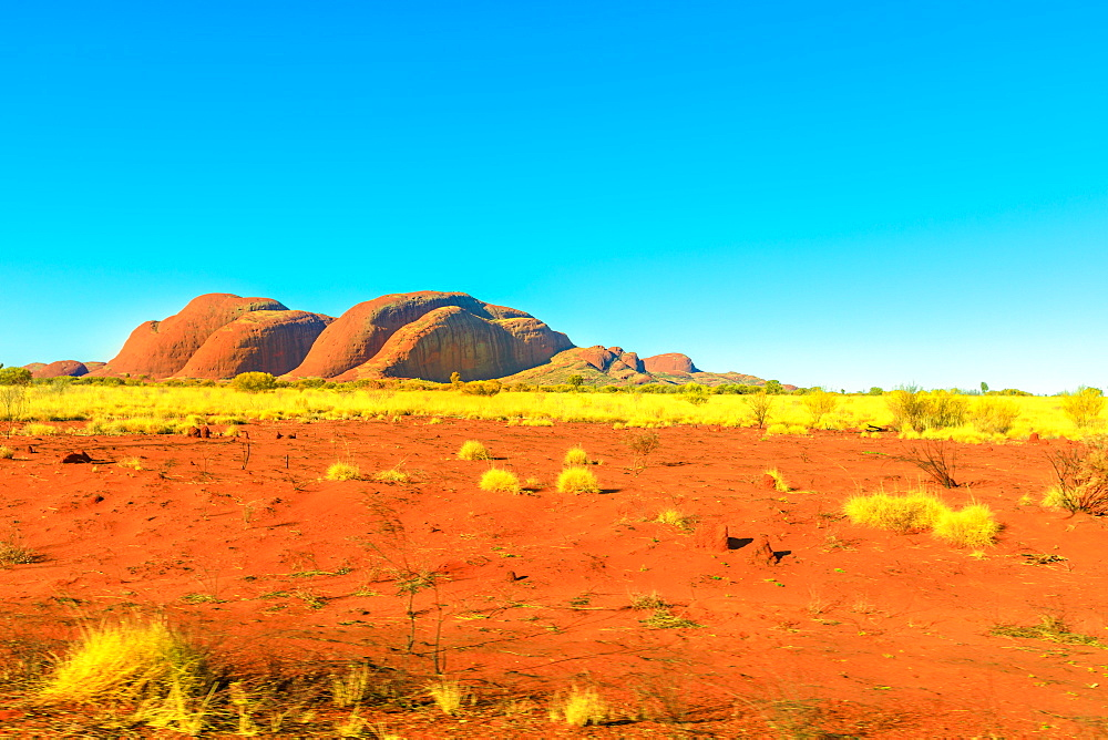 The domed rock formations of Kata Tjuta or Mount Olgas in Uluru-Kata Tjuta National park. Northern Territory, Central Australia. Aboriginal land and sacred places in Australian outback Red Centre.