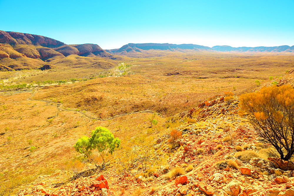 Aerial view from viewpoint of Ormiston Pound walk, a circular walk in West MacDonnell Ranges National Park, with Mount Sonder in the background, Outback, Northern Territory, Australia, Pacific
