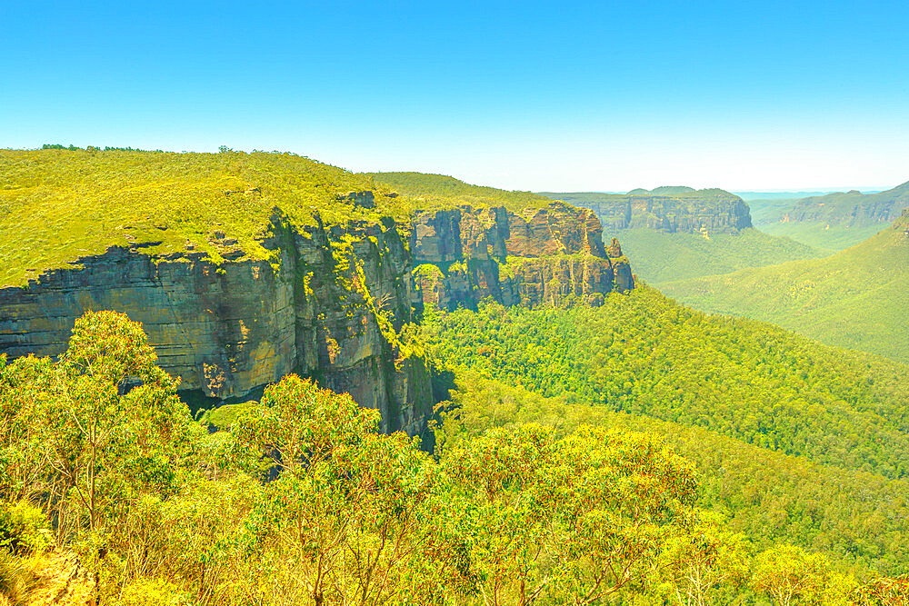 Aerial view of Govetts Leap Lookout, Blackheath area, Blue Mountains National Park near Sydney in New South Wales, Australia, Pacific - 1314-180