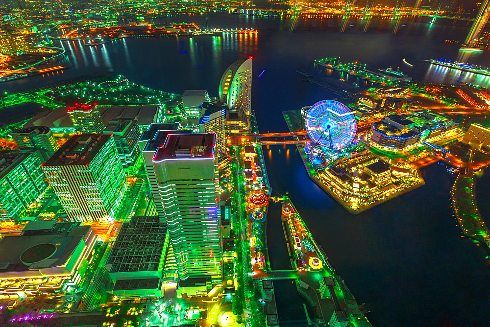 Aerial view of Yokohama Cityscape and skyline at night from viewing platform of Landmark Tower, with skyscrapers from observatory sky garden, illuminated railway and subway, Yokohama, Honshu, Japan, Asia - 1314-213
