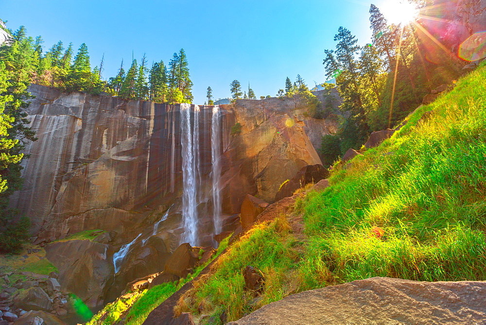 Yosemite National Park Vernal Fall on Merced River Mist trail. The beautiful waterfalls of California, United States