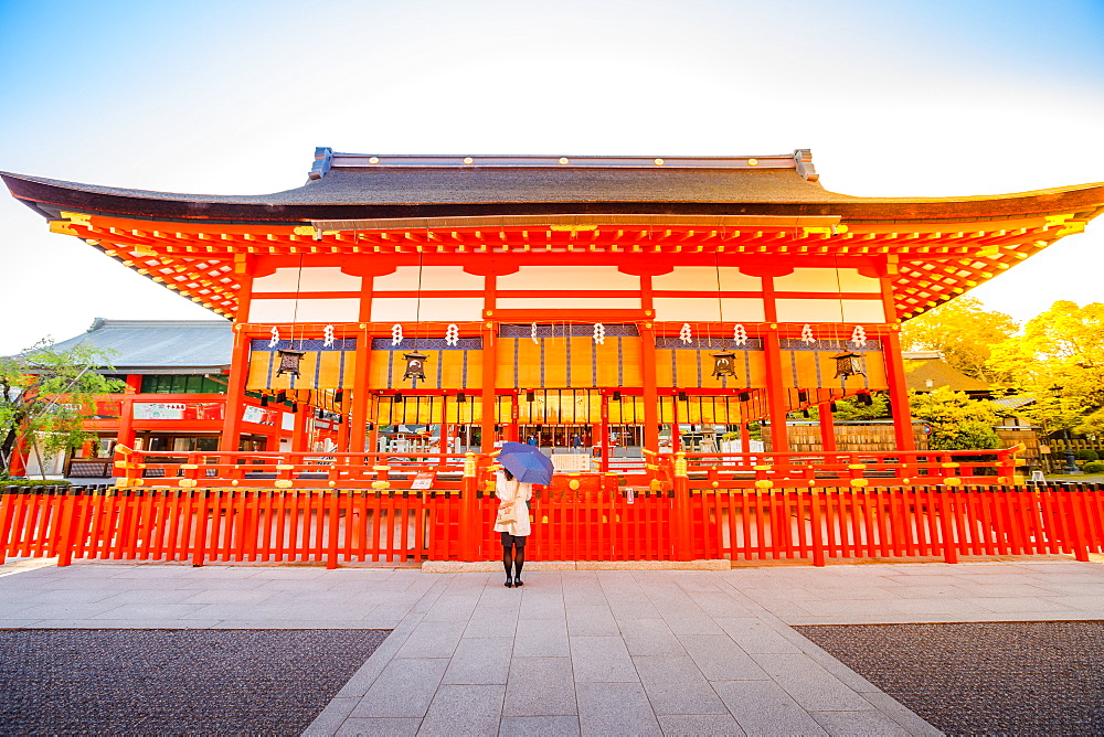 Sunrise light shot of the Fushimi Inari Taisha, the most important Shinto sanctuary and the oldest in Kyoto, Japan, Asia