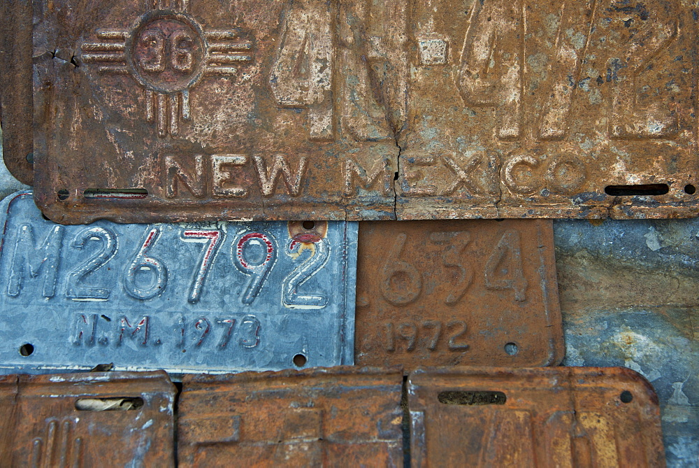 Vintage license plates in Embudo, Gas station museum, Embudo, New Mexico, United States of America, North America