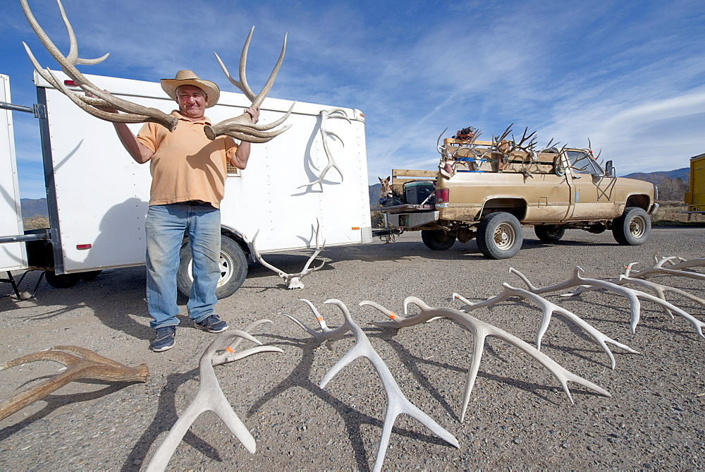 Man holding antlers for sale in Taos, New Mexico, United States of America, North America - 1315-135