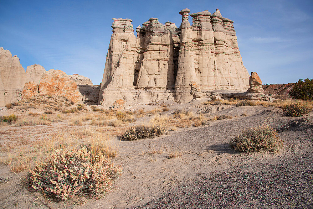 Sandstone sculptures (hoodoos) at Plaza Blanca (the White Place) in the Rio Chama hills, New Mexico, United States of America, North America