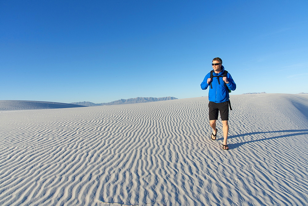 Hiking in White Sands National Park, New Mexico, United States of America, North America
