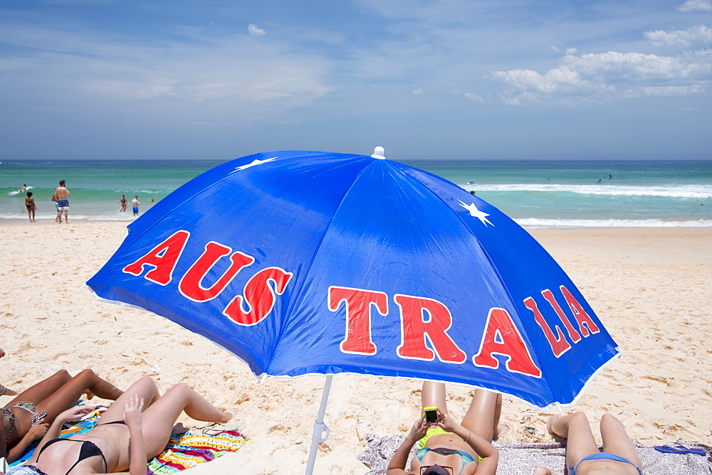 'Australia' umbrella at Bondi Beach, Sydney, Australia.