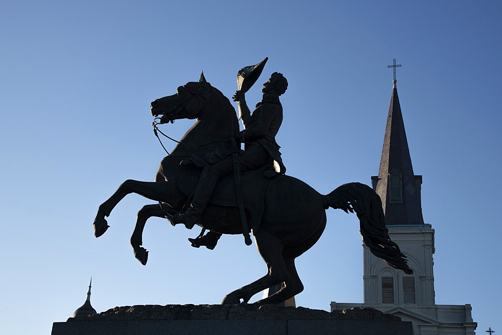 Horse and rider statue of Andrew Jackson in silhouette at New Orleans's famous Jackson Square, New Orleans, Louisiana, United States of America, North America - 1315-212