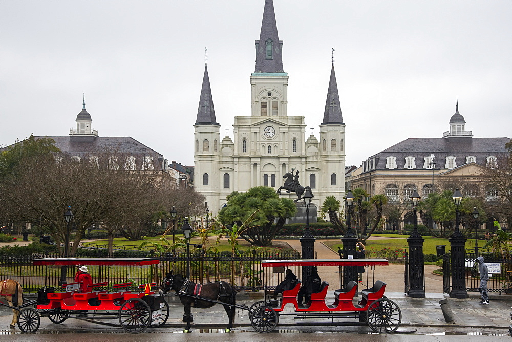 Jackson Square in the French Quarter on a dreary, foggy day before Mardis Gras, New Orleans, Louisiana, United States of America, North America