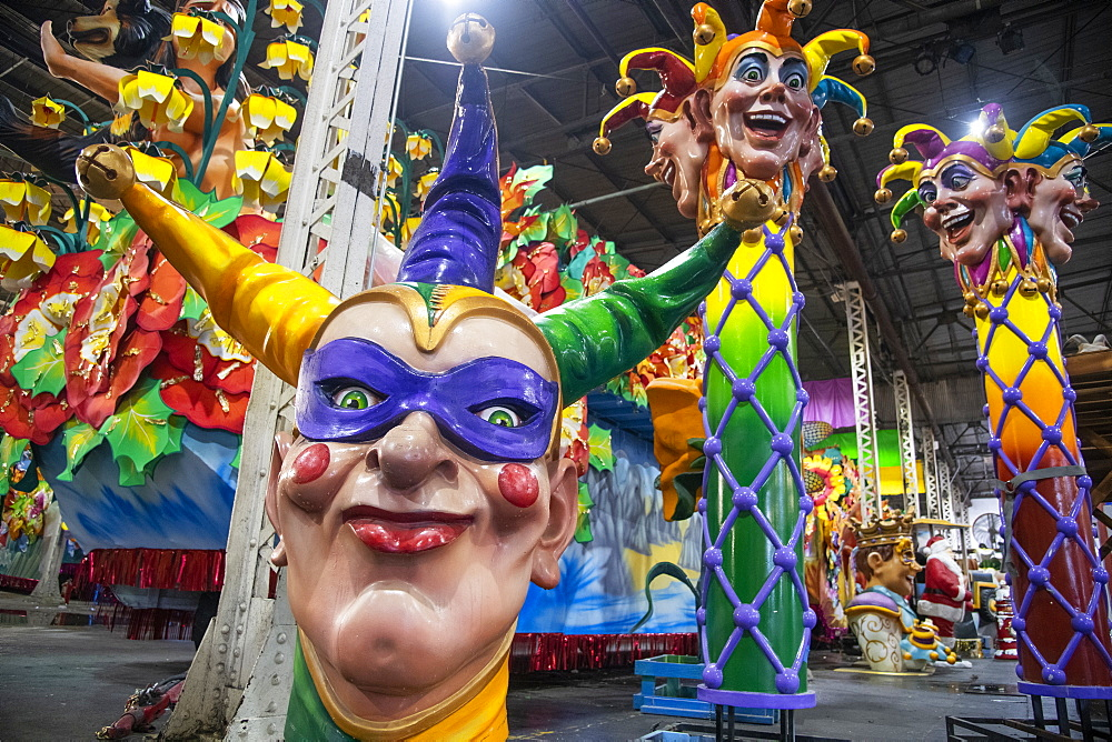 Clown figures that will appear on a Mardis Gras parade float, New Orleans, Louisiana, United States of America, North America