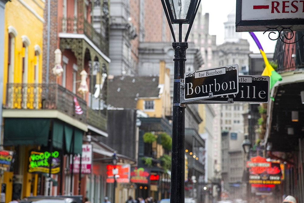 Bourbon Street, the epicenter of nightlife in the French Quarter of New Orleans, Louisiana, United States of America, North America