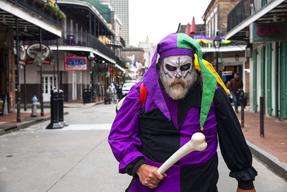 Man dressed up for Mardis Gras in the French Quarter of New Orleans.
