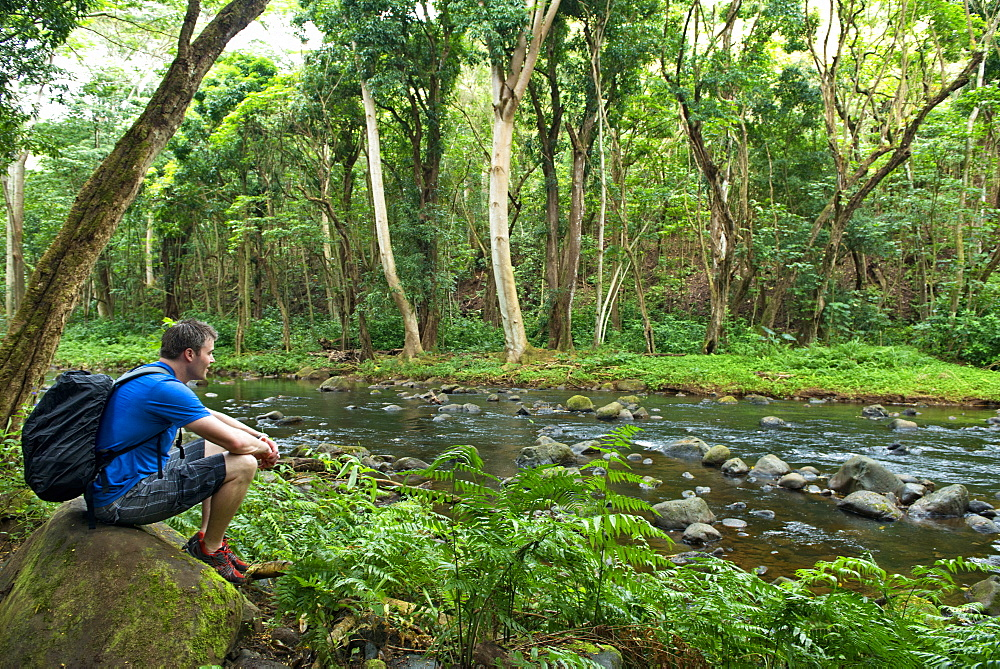 Man resting beside Wailua River, Kauai, Hawaii, United States of America, North America