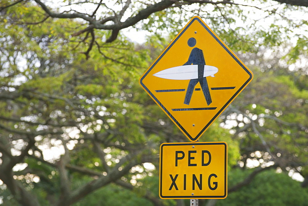 Pedestrian crossing sign modified for surfers on Kauai, Hawaii, United States of America, North America