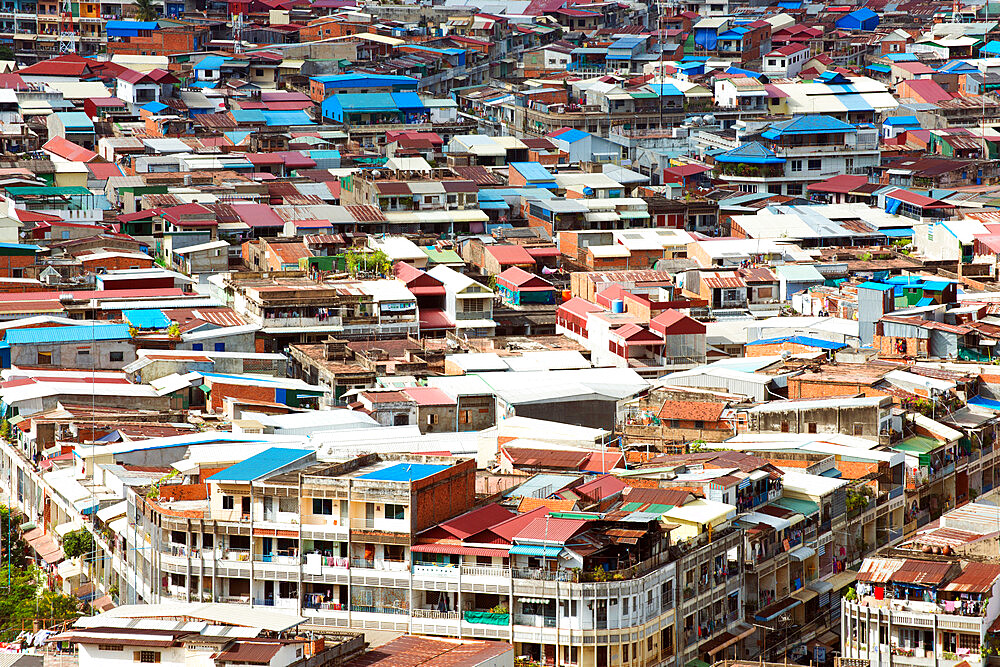 Colorful rooftops of Phnom Penh, capital city of Cambodia, Indochina, Southeast Asia, Asia