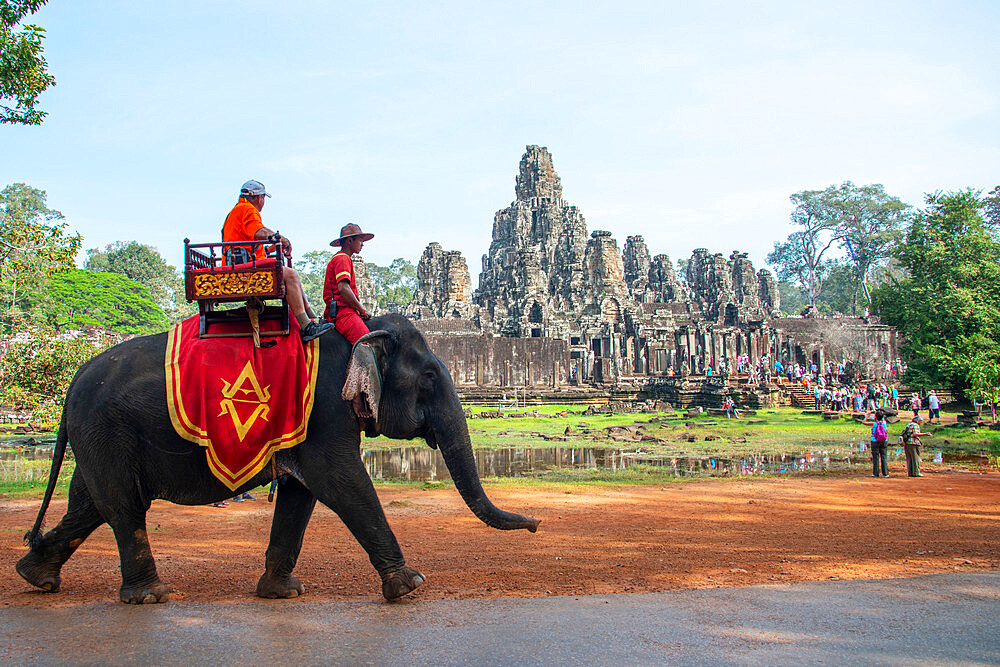 Elephant ride at the Angkor archeological complex, UNESCO Heritage Site, Siem Reap, Cambodia