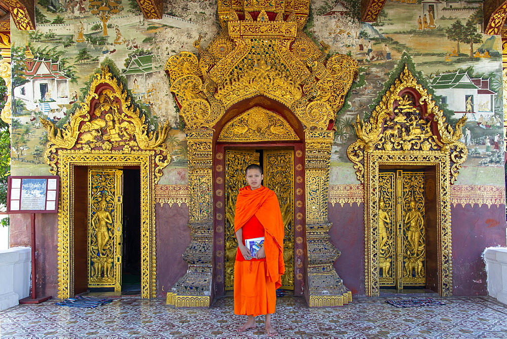 A monk in saffron robes standing at the Royal Palace, Luang Prabang