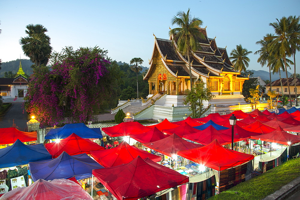 Night market outside the Royal Palace in Luang Prabang