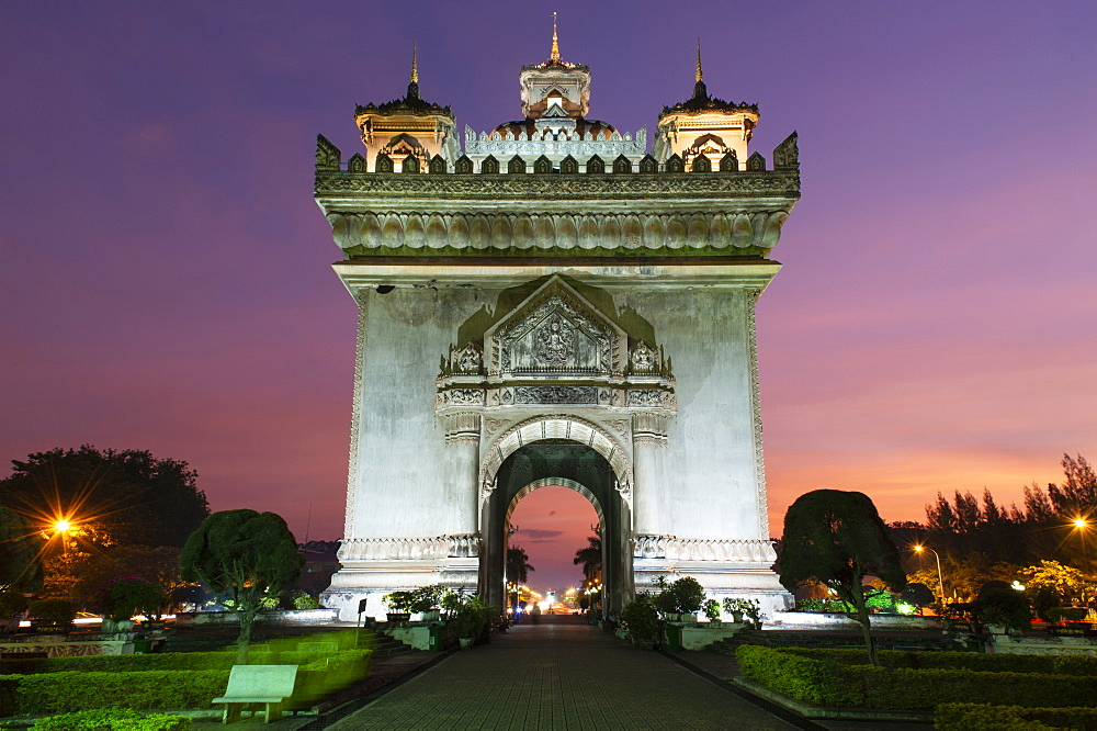 Patuxai (Victory Gate), a war monument, in Vientiane, Laos at sunset.