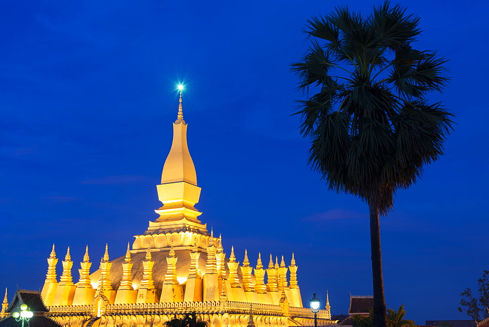 The Golden Temple of Vientiane Laos at night.