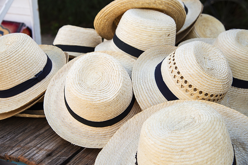 Straw hats for sale in Vinales, Cuba, West Indies, Caribbean, Central America