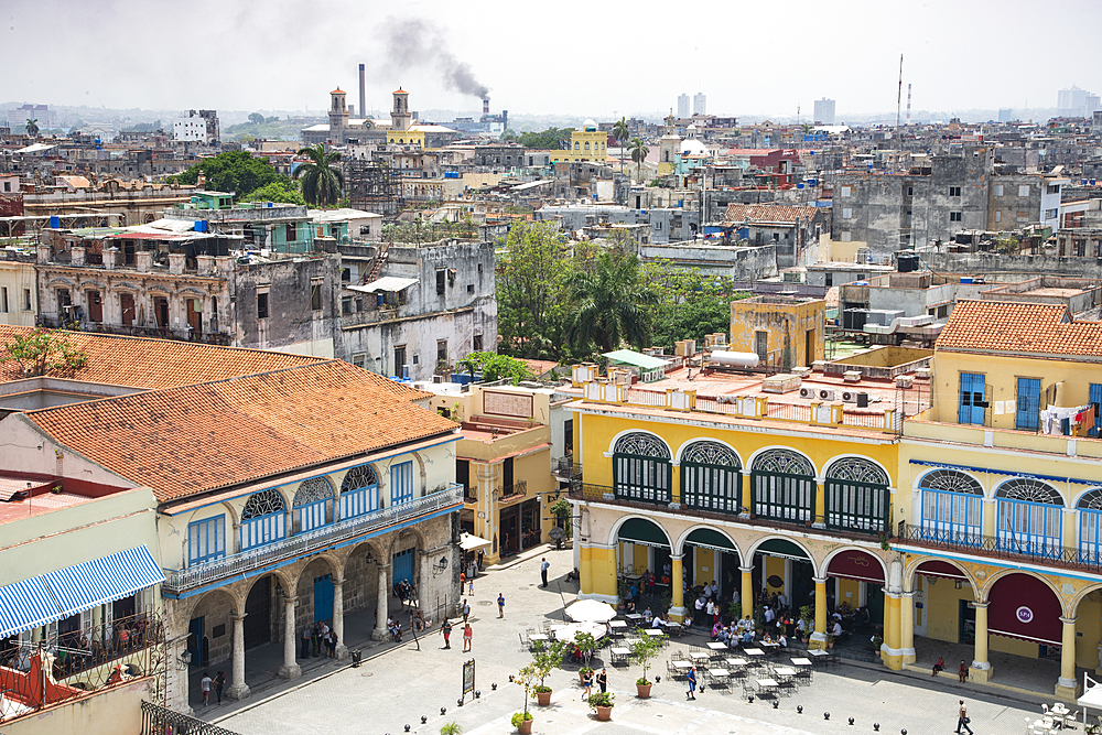 View over Plaza Vieja in Old Havana, UNESCO World Heritage Site, Havana, Cuba, West Indies, Caribbean, Central America