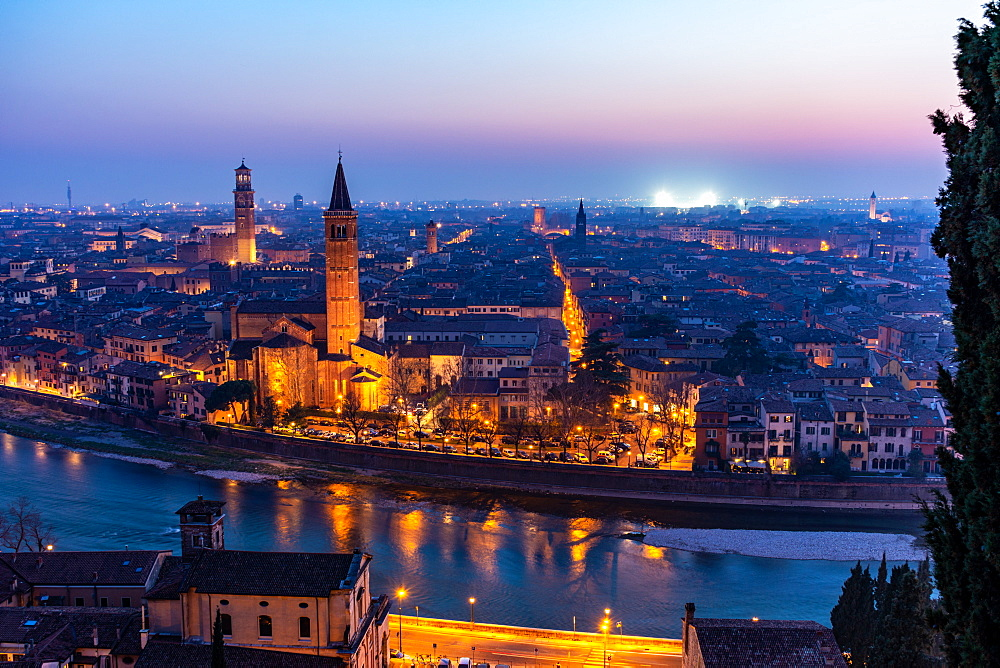 Beautiful sunset view of Verona, Veneto region, Italy, Europe