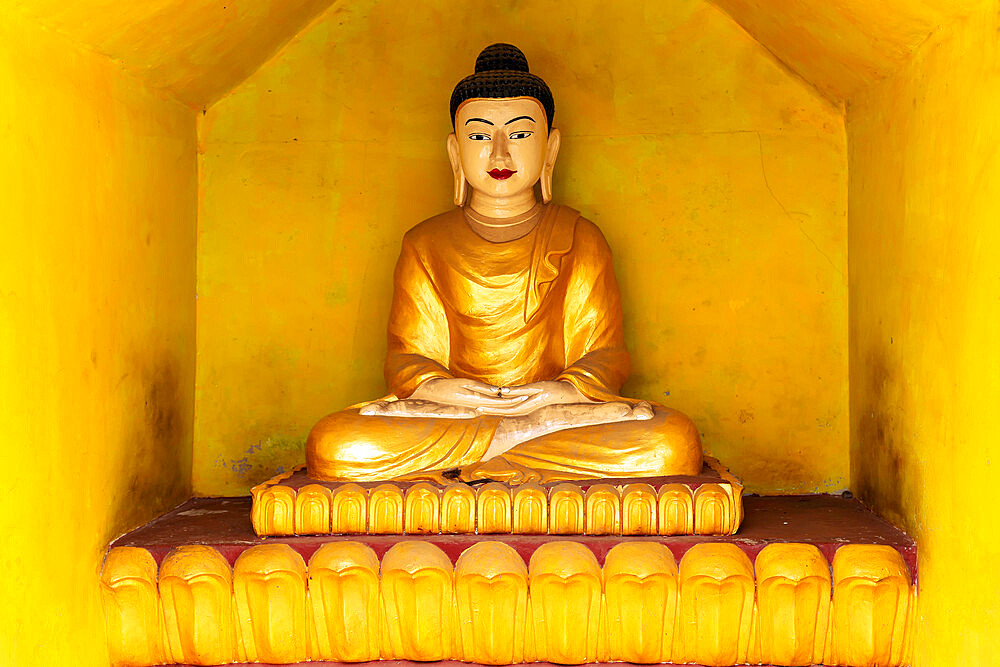 A gold-coloured Buddha statue in a yellow alcove in a temple opposite to Shwezadi Monastery, Sittwe, Rakhine, Myanmar (Burma), Asia