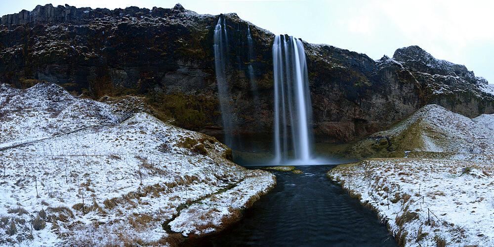 Seljalandsfoss waterfall in the winter, Iceland, Polar Regions