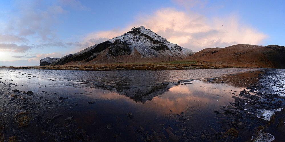 Reflection of mountain at sunrise, Iceland, Polar Regions
