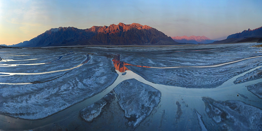 Small creeks flow into the salt flats, California, United States of America, North America
