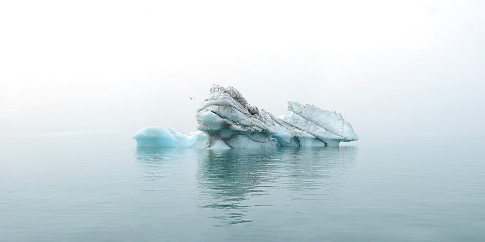 Panorama image of iceberg carved by wind and water, Nunavut and Northwest Territories, Canada, North America