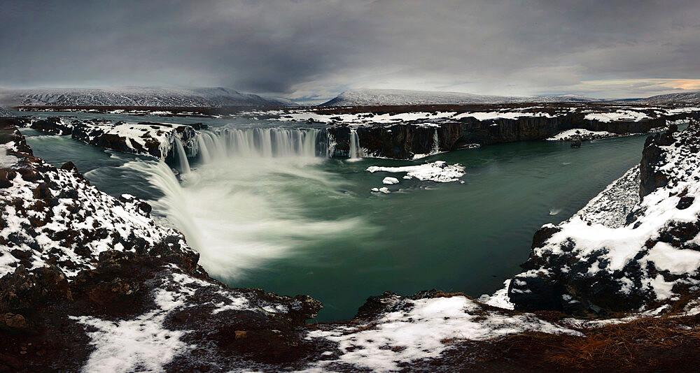 Panorama image of Godafoss waterfall, Iceland, Polar Regions