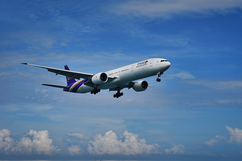Thai Airways Boeing 777 approaching Phuket International Airport, Thailand, Southeast Asia, Asia