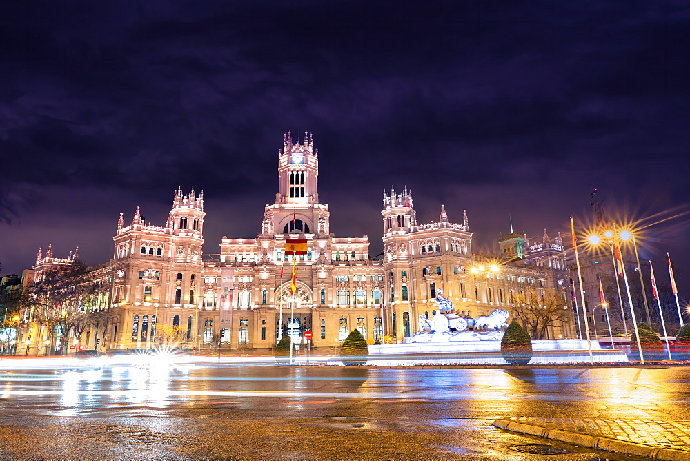 Plaza de Cibeles, with sculptures and a fountain that has become an iconic symbol for the city of Madrid, Spain, Europe