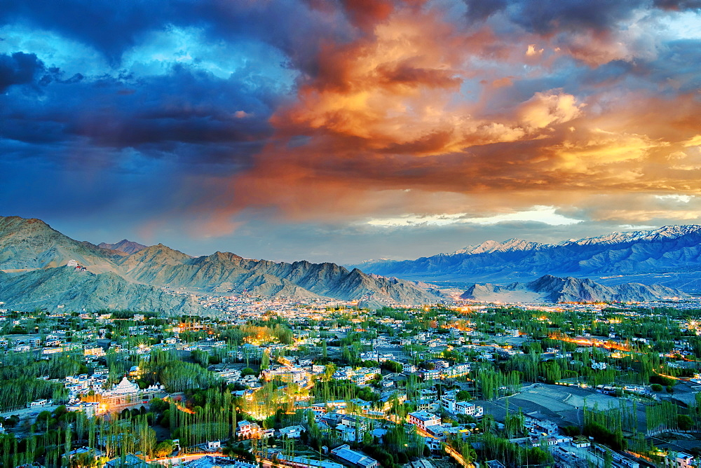 View of Leh city in Ladakh region of India, one of the highest altitude tourist destinations in India, Leh, Ladakh, India, Asia