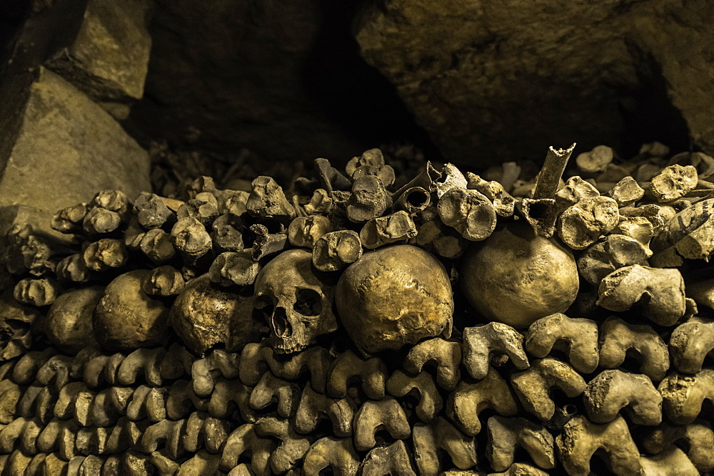 Skulls and bones that line the halls of the Catacombs in Paris, France. - 1320-14