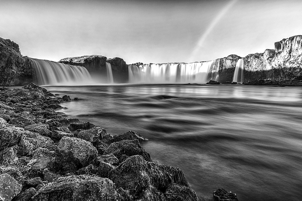 Godafass Waterfall long exposure, near Akureyri, Iceland, Polar Regions